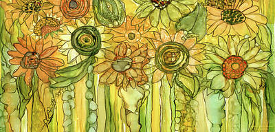 Sunflower Garden Bloomies 4 Art Print by Carol Cavalaris
