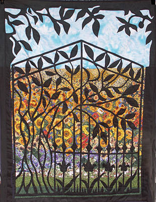 Tapestry - Textile - Sunflower Garden Gate by Sarah Hornsby