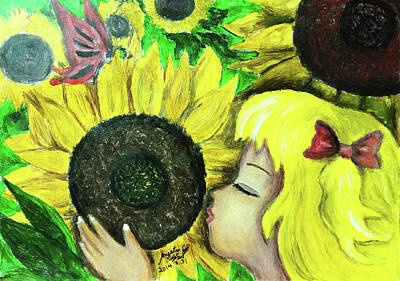Painting - Sunflower Girl by Angela Lao