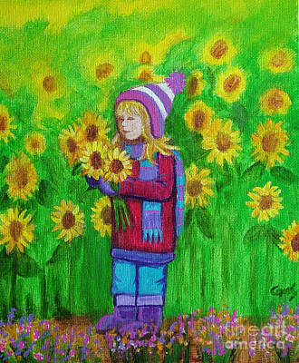 Vermeer Rights Managed Images - Sunflower Girl Royalty-Free Image by Nick Gustafson