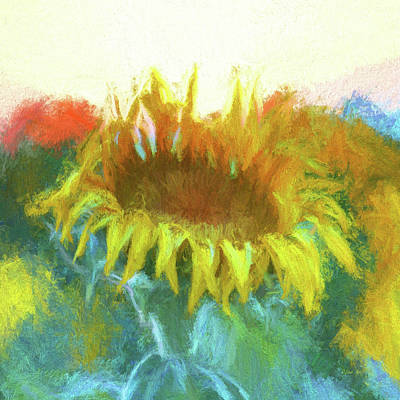 Digital Art - Sunflower Glow by OLena Art Brand