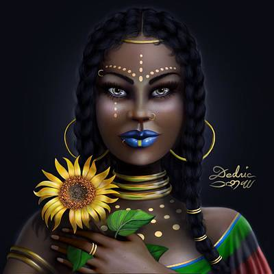 Digital Art - Sunflower Goddess  by Dedric Artlove W