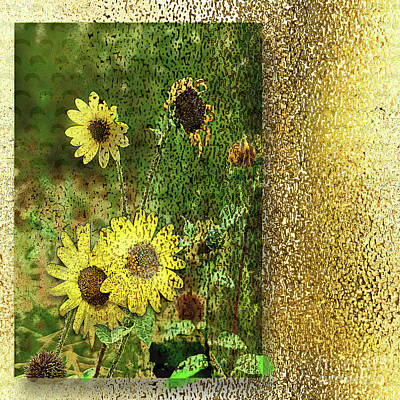 Digital Art - Sunflower Gold by Deborah Nakano
