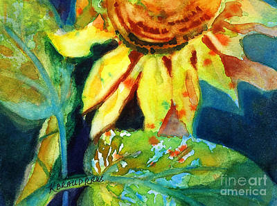 Raw Sienna Painting - Sunflower Head 4 by Kathy Braud