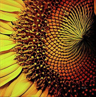 Watercolor Photograph - Sunflower Head by Russ Harris