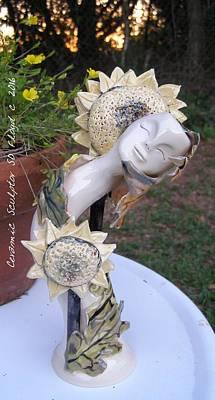 Sd Floyd Sculpture - Sunflower Hugs by Sandi Floyd