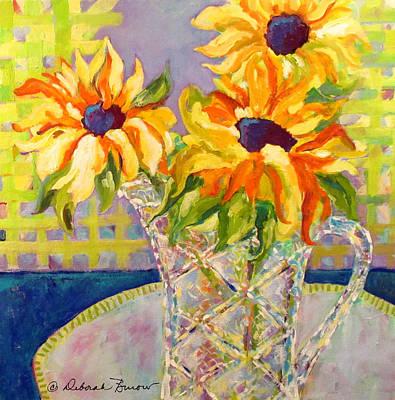 Sunflower In A Crystal Vase Original by Deborah Burow