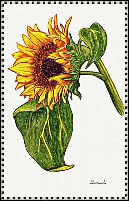 Sunflowers Royalty-Free and Rights-Managed Images - Sunflower in Gouache by Sarah Loft