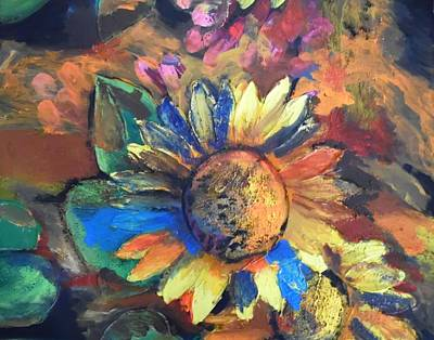 Painting - Sunflower In The Moonlight by Esther Newman-Cohen