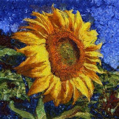 Painting - Sunflower In Van Gogh Style by Tracey Harrington-Simpson
