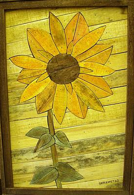 Sunflower Lath Art Original by Rod Skramstad