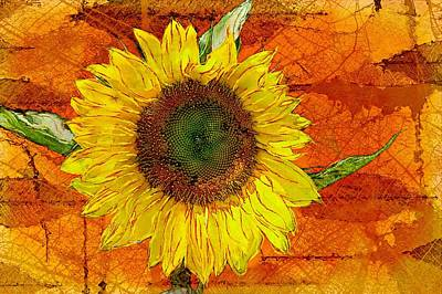 Sunflower Leaf Impressions Art Print by Barbara Chichester
