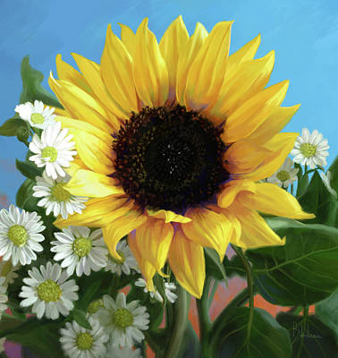 Floral Digital Art - Sunflower by Lucie Bilodeau