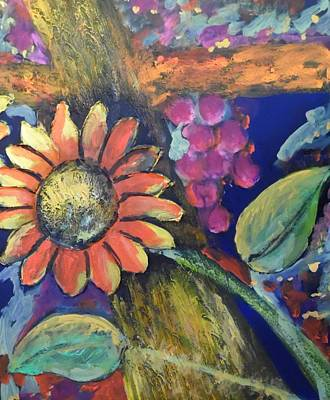 Painting - Sunflower Meets Grapes by Esther Newman-Cohen