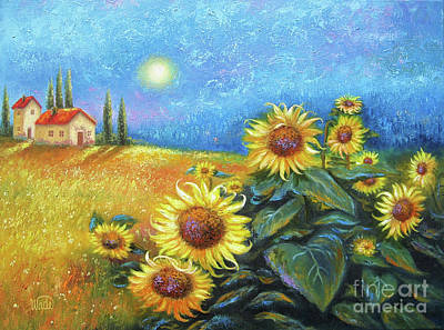 Sunflowers Painting - Sunflower Moon by Vickie Wade