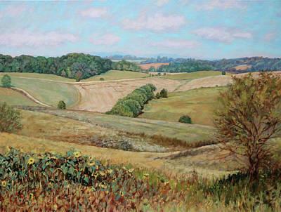 Painting - Sunflower Morning - Sunflower Farm In Botetourt Virginia by Bonnie Mason