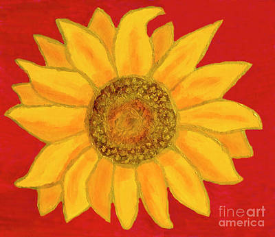 Painting - Sunflower On Red by Irina Afonskaya