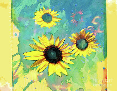 Digital Art - Sunflower On The Fridge by Deborah Nakano