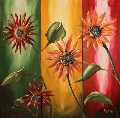 Painting - Sunflower Parade by Henry Blackmon