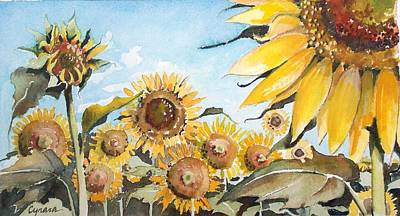 Painting - Sunflower Patch Wc Study One by Cynara Shelton