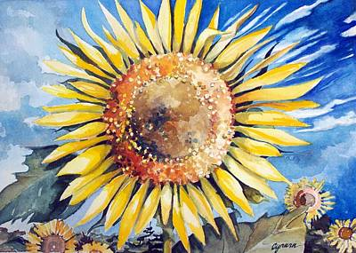 Painting - Sunflower Patch Wc Study Two by Cynara Shelton