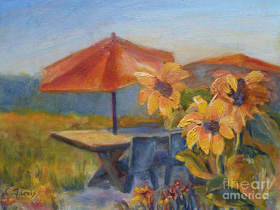 Painting - Sunflower Picnic by Carolyn Jarvis