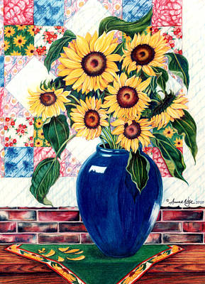 Quilts Drawing - Sunflower Quilt by Anne Nye