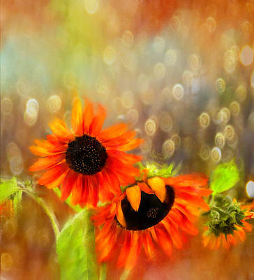 Digital Art - Sunflower Rain by Sand And Chi