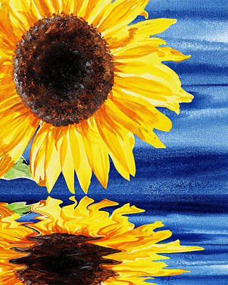 Royalty-Free and Rights-Managed Images - Sunflower Reflection by Irina Sztukowski by Irina Sztukowski