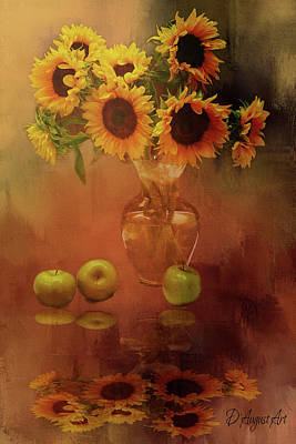 Splashy Mixed Media - Sunflower Reflections by Theresa Campbell