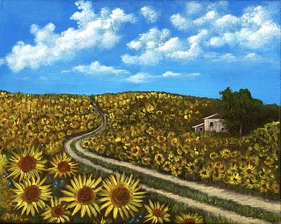 Sunflower Road Art Print by Anastasiya Malakhova
