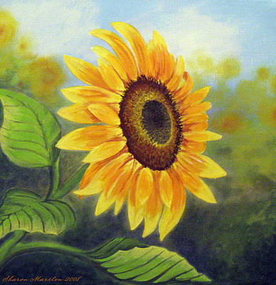 Sunflower Painting By Sharon Marcella Marston