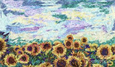 Grow Digital Art - Sunflower Space by Julianne Black
