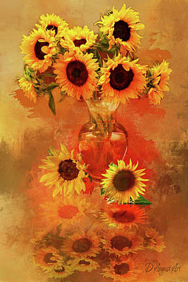 Mixed Media - Sunflower Splashes by Theresa Campbell