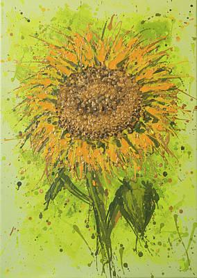 Expressive Impression Painting - Sunflower Splatter by Alexandra Kiczuk