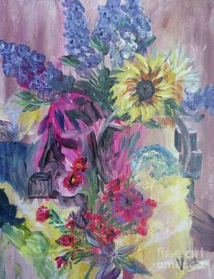 Painting - Sunflower Still Life by Judy Via-Wolff