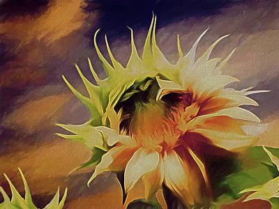 Mixed Media - Sunflower Sunset by Lynda Lehmann