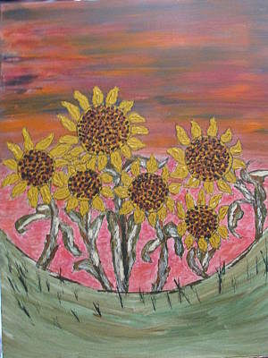 Painting - Sunflower Sunset by Sharyn Winters