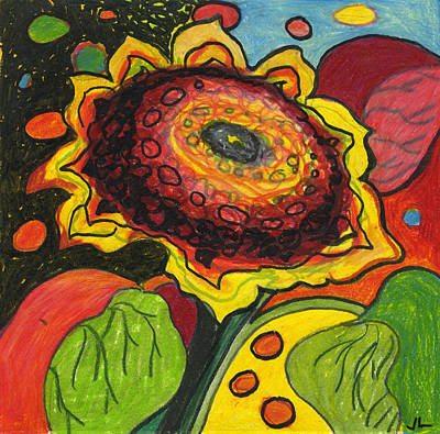 Vivid Drawing - Sunflower Surprise by Jennifer Lommers