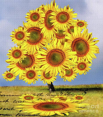 Digital Art - Sunflower Tree by Daliana Pacuraru