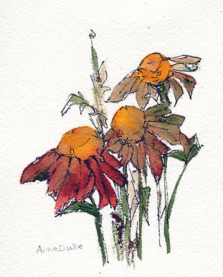 Art Print featuring the painting Sunflower Trio #1 by Anne Duke
