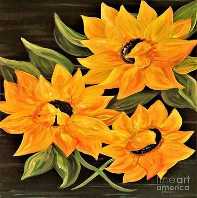 Sun Painting - Sunflower Trio by Eloise Schneider