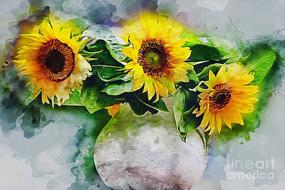Photograph - Sunflower Trio by Ian Mitchell