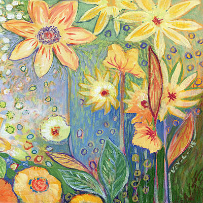 Triptych Painting - Sunflower Tropics Part 3 by Jennifer Lommers