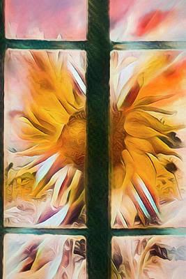 Photograph - Sunflower Window Watercolors by Debra and Dave Vanderlaan