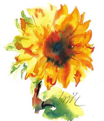 Sunflower With Blues Art Print