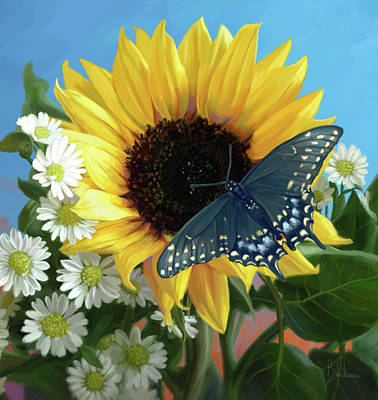 Hand Painted Painting - Sunflower With Butterfly by Lucie Bilodeau