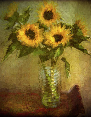 Sunflower With Glass Vase Original by Remi D Photography