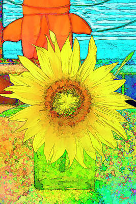 Sunflower With Koi Stain Glass Art Print