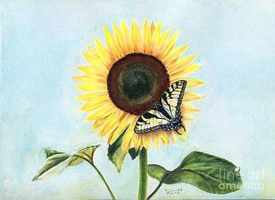 Painting - Sunflower With Swallowtail by Penrith Goff